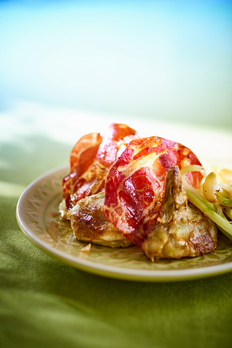 Roasted artichokes with coppa