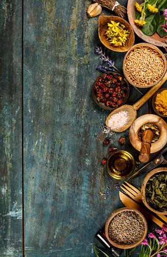 Flat lay of wild healing herbs. Clean eation, paleo, biohacking, herbal medicine concept