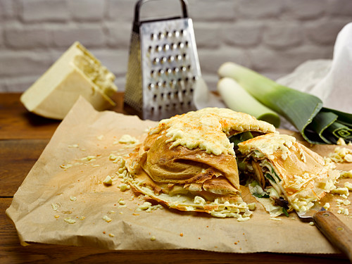 A pancake dome with Caerphilly cheese and leeks (Wales)