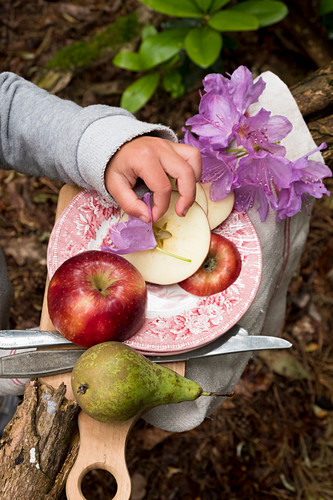 A little child hand picking a flower from a plate with a apple and a pear