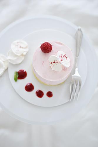 Rhubarb mousse tart with a liquid raspberry core