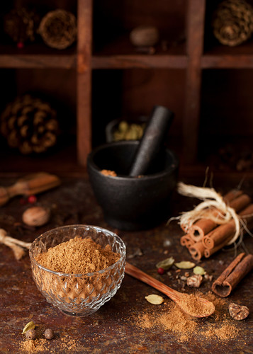 Chai spice mixture in a crystal bowl