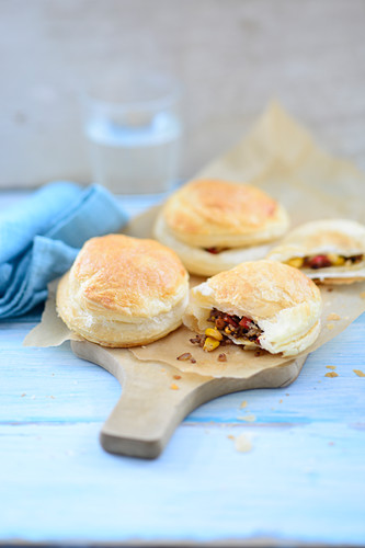 Puff pastry parcels filled with chopped corn