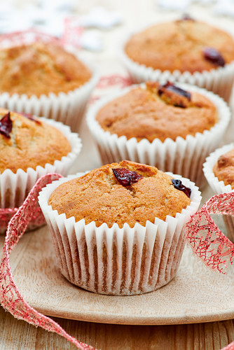 Christmas muffins with cranberries