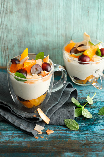 Coconut quark with blue grapes and oranges