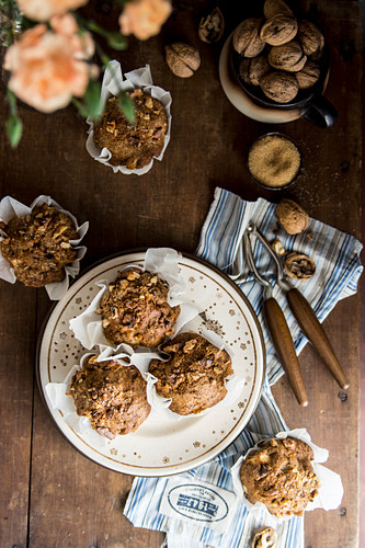 Apple muffins with walnuts