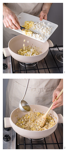 Barley risotto with apple, white turnip and walnuts being made