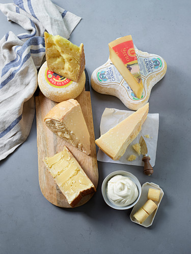 Hard and soft cheese from Lombardy, Italy