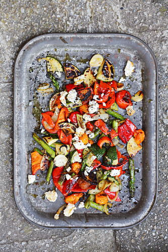 Grilled Mediterranean vegetables with feta cheese (seen from above)