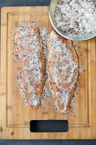 Salmon trout fillets with a marinade made from sea salt, sugar and spices