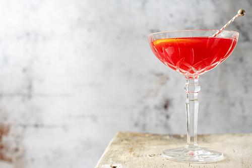 A Jack Rose cocktail made with Lairds Apple Jack Brandy, grenadine and lemon juice