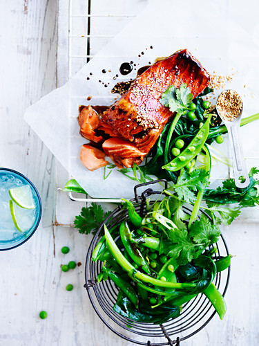 Soy-glazed ocean trout with greens