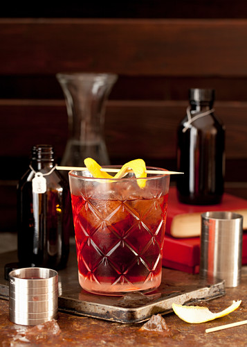 Classic Negroni Cocktail with a Lemon Twist