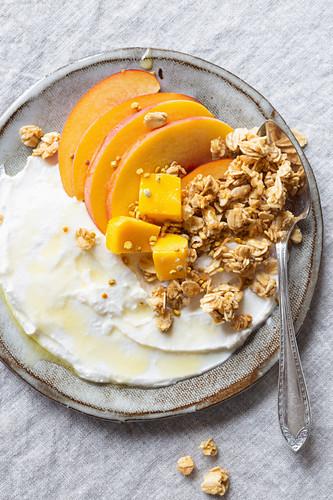 Griechischer Joghurt mit Pfirsich, Mango, Müsli, Honig und Blütenpollen (glutenfrei)
