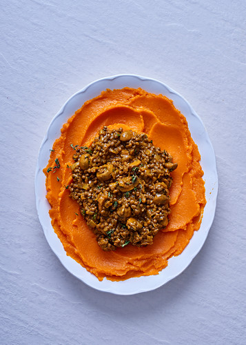 Mushroom-and-lentil curry with sweet potato mash