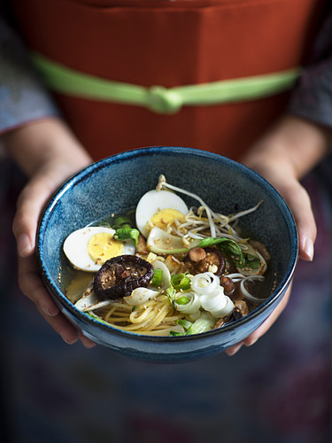 Miso ramen with vegetables and egg