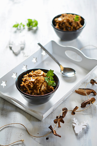 Risotto with dried mushrooms