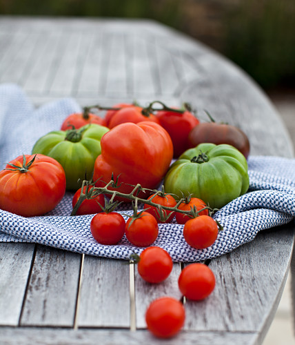 Various tomatoes on a wooden garden table