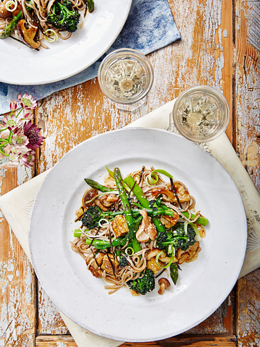 Asparagus and Purple Sprouting Brocolli Tofu Miso Buckwheat Noodles