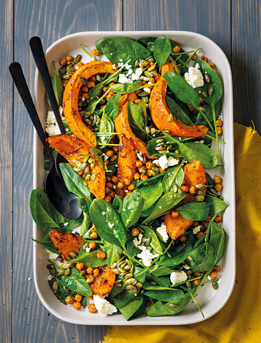 Harissa pumpkin and chickpea salad with feta