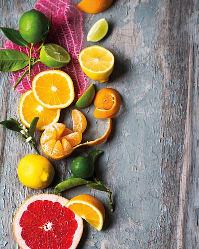 Various fresh citrus fruits