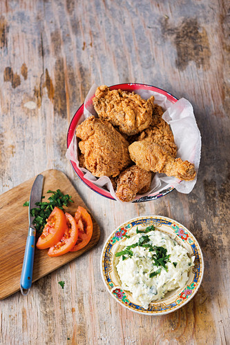 South African fried chicken with coleslaw