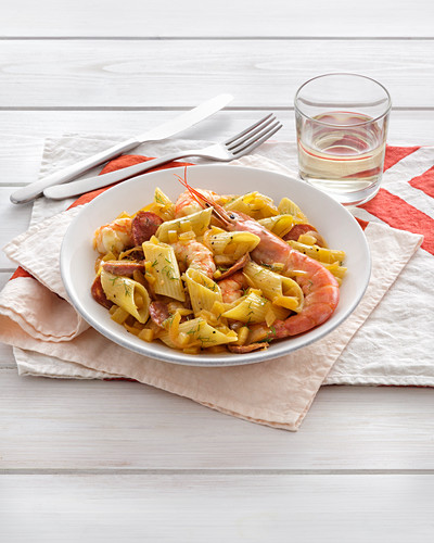 Penne with king prawns and salsiccia