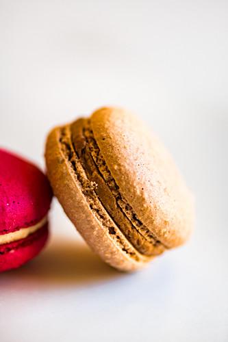 A macaron with chocolate cream