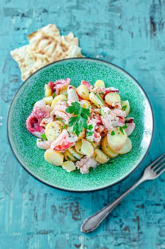 Potato salad with squid (Sardinian)