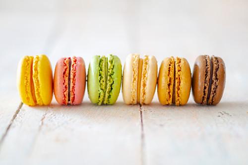 A row of macarons
