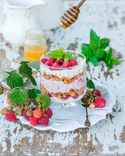 Raspberry granola perfait