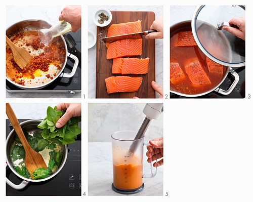 Salmon with ras-el-hanout foam and spinach being made