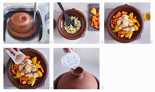 Aromatic chicken with carrots being made in a tagine