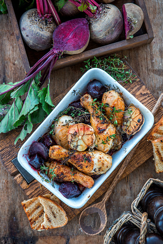 Roasted chicken thighs with beetroot and thyme
