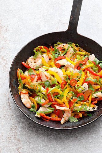 A pepper medley with sous vide chicken and prawns
