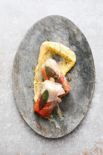 Sous vide pangasius saltimboca with polenta