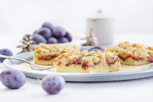 Damson and almond tray bake cake