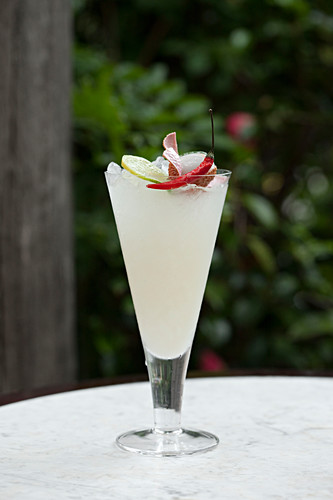 Lychee cocktail with a chilli garnish