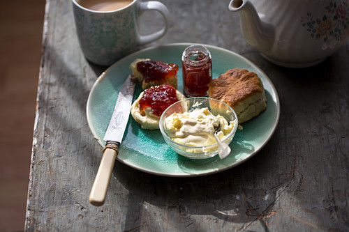 Scones with jam and clotted cream for afternoon tea