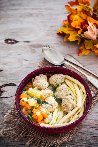 Soup with chicken meatballs and pasta