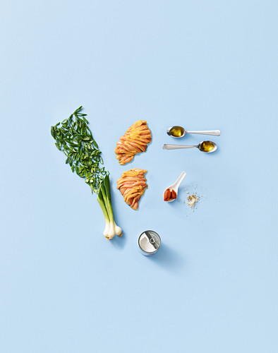 Ingredients for stir-fried coconut curry chicken