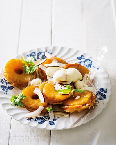 Mini tartes tatin made with tinned pineapple rings