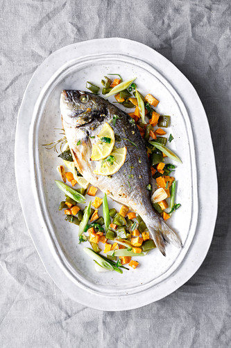 Chilli seabream with sweet potatoes and peppers