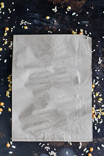 Parchment paper and dried soup ingredients