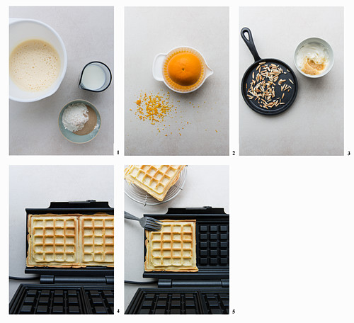 Orange yeast waffles being made