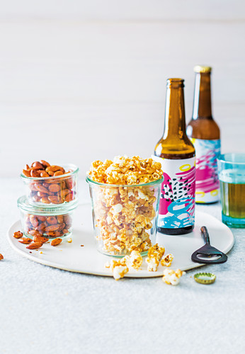 Salted beer caramel popcorn, Chilli and lime almonds