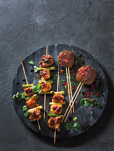 Chicken thigh and spring onion skewers, Tsukune chicken meatballs (Japan)