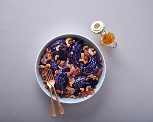 Warm cabbage, bacon & nut salad with orange dressing
