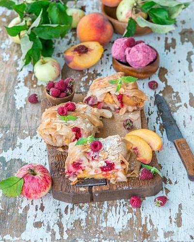 Apple, raspberry and peach strudel