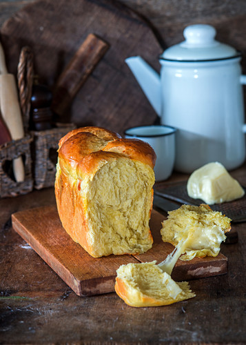 Yeast bread filled with mozzarella